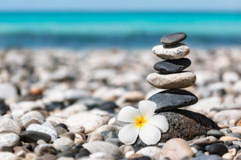 Rocks balanced at a beach